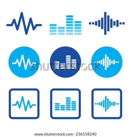 Sound wave music vector blue icons set   - stock vector
