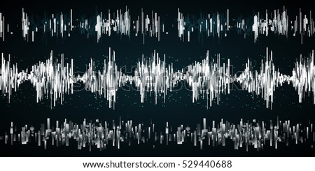 Sound wave set on a dark background. Vector ilustration. Radio concept.