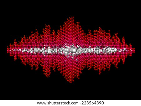 Sound waveform made of chaotic red balls - stock vector