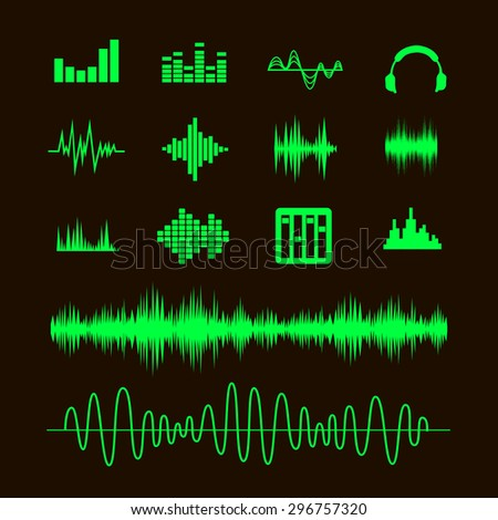 Sound Waveforms. Sound waves and musical pulse icons vector - stock vector