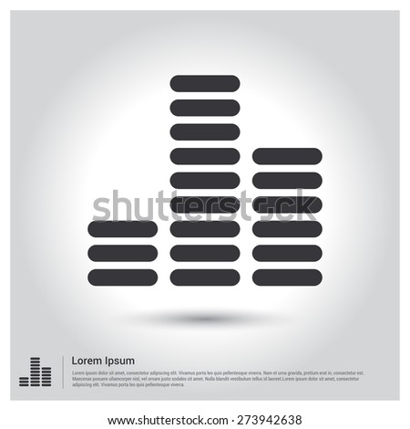 sound waves icon, pictogram icon on gray background. Vector illustration for web site, mobile application. Simple flat metro design style. Outline Icon. Flat design style - stock vector