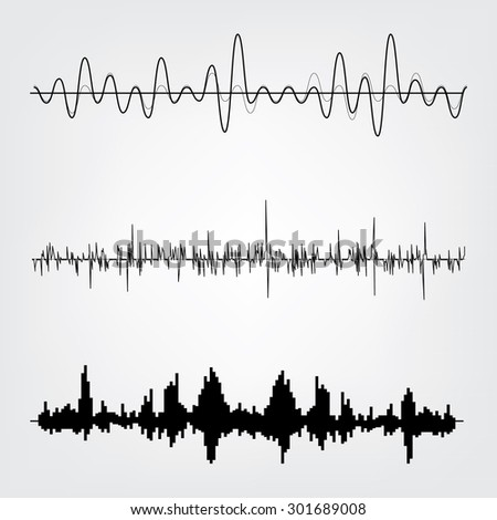 Sound waves icon vector set. Audio equalizer technology, pulse musical. Vector illustration - stock vector