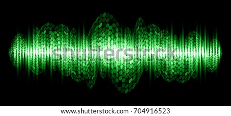 Sound waves oscillating dark green light, Abstract technology background. Vector.