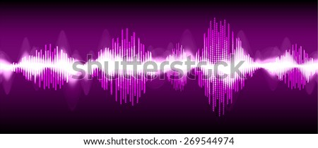 Sound waves oscillating glow black light, Abstract technology background. Vector. black background.