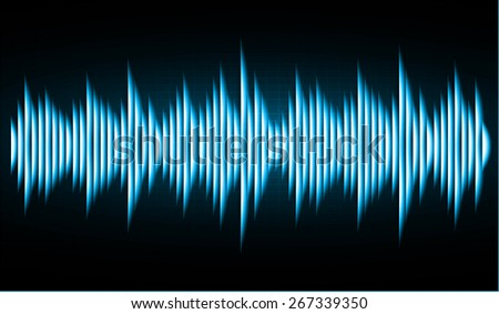 Sound waves oscillating glow blue black light, Abstract technology background. Vector. Pulse