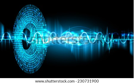 Sound waves oscillating glow blue color light, Abstract graphic technology background. Vector. pulse heart.