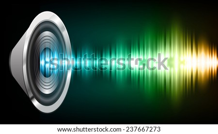 Sound waves oscillating glow blue green orange light, Abstract technology background. Vector. speakers.