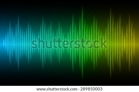 Sound waves oscillating glow blue green yellow light, Abstract technology background. Vector.