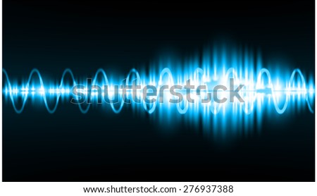 Sound waves oscillating glow blue light, Abstract technology background. Vector. - stock vector