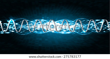 Sound waves oscillating glow blue light, Abstract technology background. Vector. Beam. infographics.