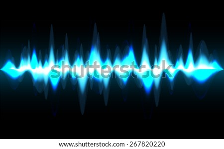Sound waves oscillating glow blue light, Abstract technology background. Vector. dark black background