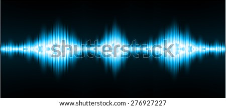 Sound waves oscillating glow blue light, Abstract technology background. Vector. infographics.