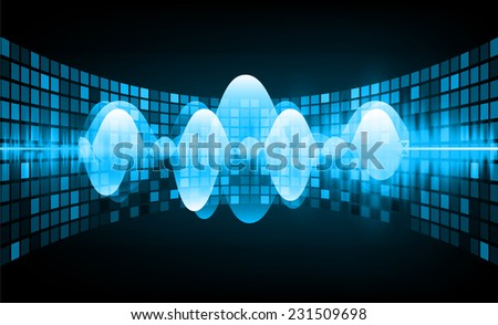 Sound waves oscillating glow blue light, Abstract technology background. Vector. pixel. - stock vector