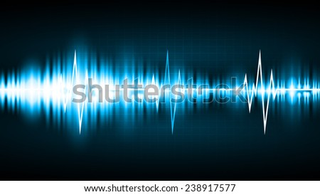 Sound waves oscillating glow blue light, Abstract technology background. Vector. Pulse