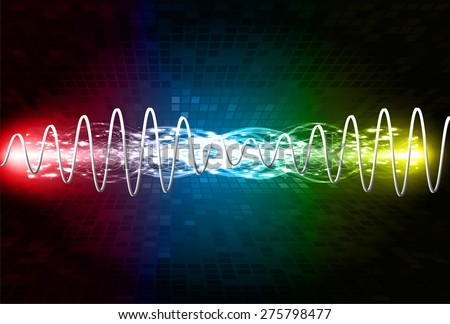 Sound waves oscillating glow blue red yellow light, Abstract technology background. Vector. Beam. infographics.