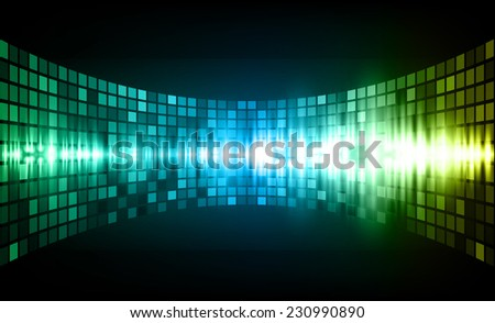 Sound waves oscillating glow blue yellow green light, Abstract graphic computer technology background. Vector. pixels mosaic background. - stock vector