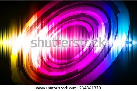 Sound waves oscillating glow blue yellow pink light, Abstract technology background.