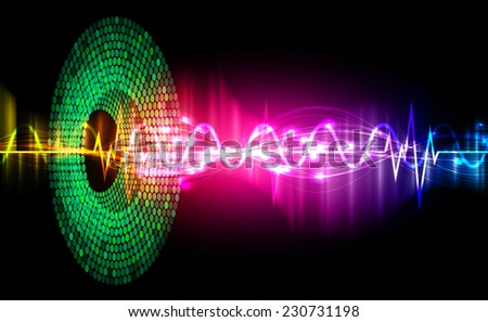 Sound waves oscillating glow color light, Abstract graphic technology background. Vector. pulse heart.