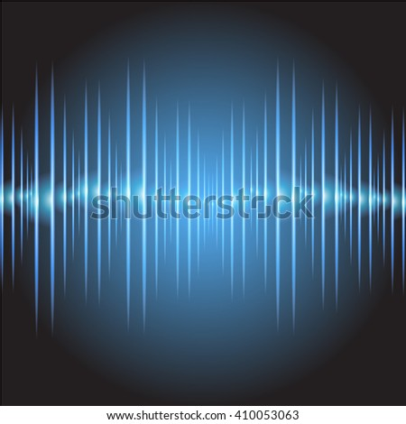 Sound waves oscillating glow dark blue light, Abstract technology background. Vector.