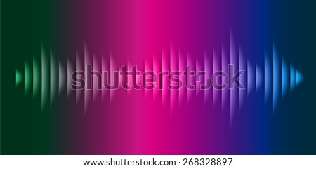 Sound waves oscillating glow dark green blue pink light, Abstract technology background. Vector.