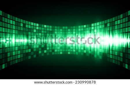 Sound waves oscillating glow green light, Abstract graphic computer technology background. Vector. pixels mosaic background. - stock vector
