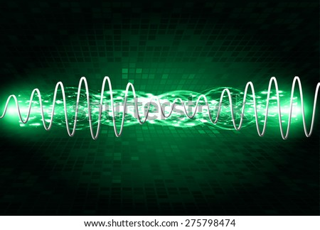 Sound waves oscillating glow green light, Abstract technology background. Vector. Beam. infographics.