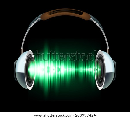 Sound waves oscillating glow green light, Abstract technology background. Vector. Headphones. loudspeaker