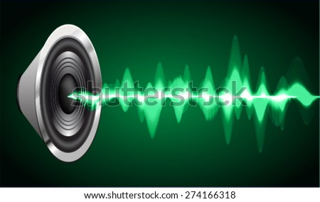Sound waves oscillating glow green light, Abstract technology background. Vector. volume.