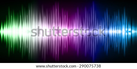 Sound waves oscillating glow green purple blue light, Abstract technology background. Vector. infographics