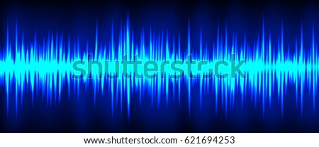 Sound waves oscillating glow light graphic vector