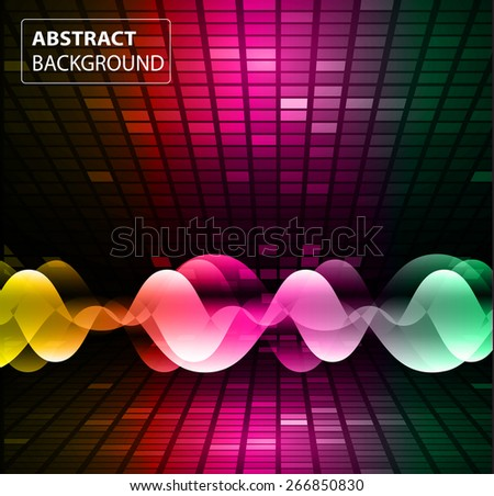 Sound waves oscillating glow orange pink purple green light, Abstract technology background. Vector.