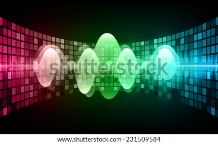 Sound waves oscillating glow pink green blue light, Abstract technology background. Vector. pixel. - stock vector