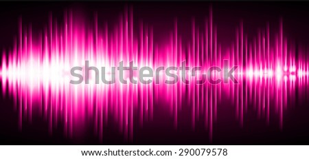 Sound waves oscillating glow pink light, Abstract technology background. Vector. infographics