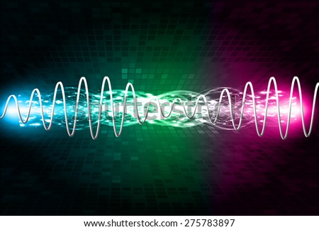 Sound waves oscillating glow purple blue purple light, Abstract technology background. Vector. Beam. infographics.
