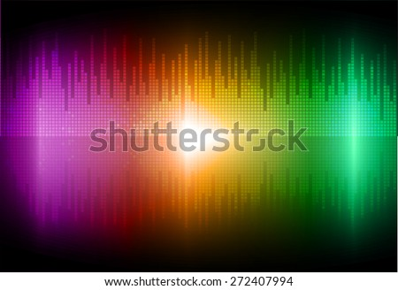 Sound waves oscillating glow purple orange green light, Abstract technology background. Vector.