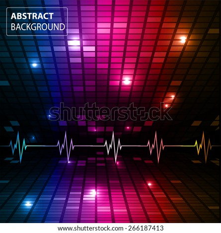 Sound waves oscillating glow red blue purple light, Abstract technology background. Vector. pulse. Pixel, mosaic, table