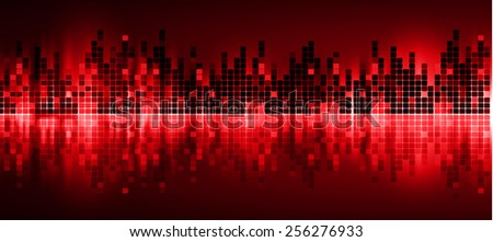 Sound waves oscillating glow red light, Abstract technology background. Vector.