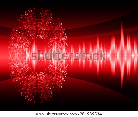 Sound waves oscillating glow red light, Vector.infographics. Abstract Technology background for computer graphic website internet and business. circuit.