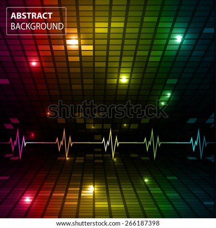 Sound waves oscillating glow red yellow blue light, Abstract technology background. Vector. pulse. Pixel, mosaic, table