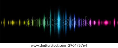 Sound waves oscillating glow yellow blue pink light, Abstract technology background. Vector. infographics