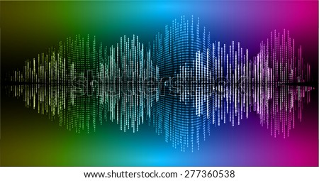 Sound waves oscillating glow yellow blue pink light, Abstract technology background. Vector. info graphics.