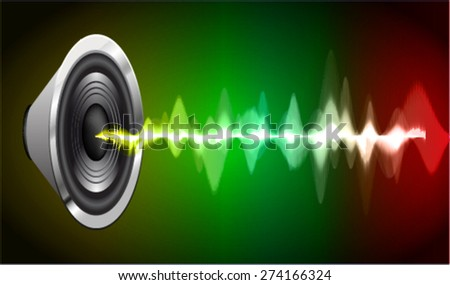 Sound waves oscillating glow yellow green red light, Abstract technology background. Vector. volume.