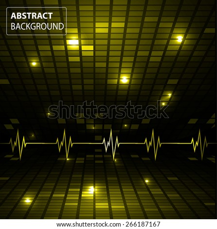 Sound waves oscillating glow yellow light, Abstract technology background. Vector. pulse. Pixel, mosaic, table