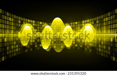 Sound waves oscillating glow yellow red light, Abstract technology background. Vector. pixel. - stock vector