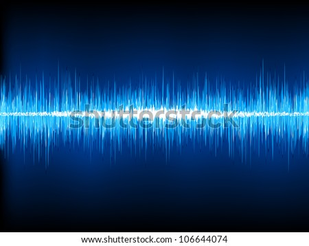 Sound waves oscillating on black background. EPS 8 vector file included - stock vector