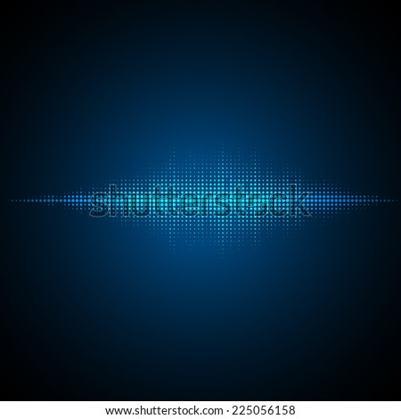 Sound waves oscillating on dark background. Vector illustration for club, radio, party, concerts or the audio technology advertising background. - stock vector