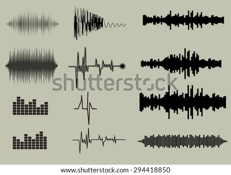 Sound waves set. Music background  EPS 10 vector file included - stock vector