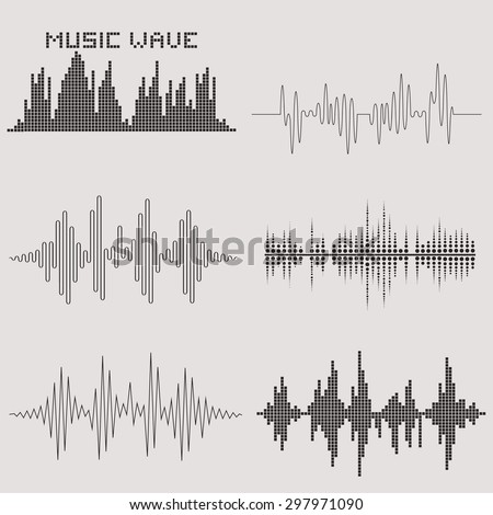 Sound waves set. Music waves icons. Audio equalizer technology. Vector illustration. Sound wave graphs. Sound concept. Sound waves isolated on background. Sound waves. - stock vector