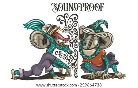 Soundproof Monkeys - stock vector