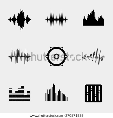 Soundwave music icons set. Wave and equalize audio, stereo sound, melody and song, control player. Vector illustration - stock vector